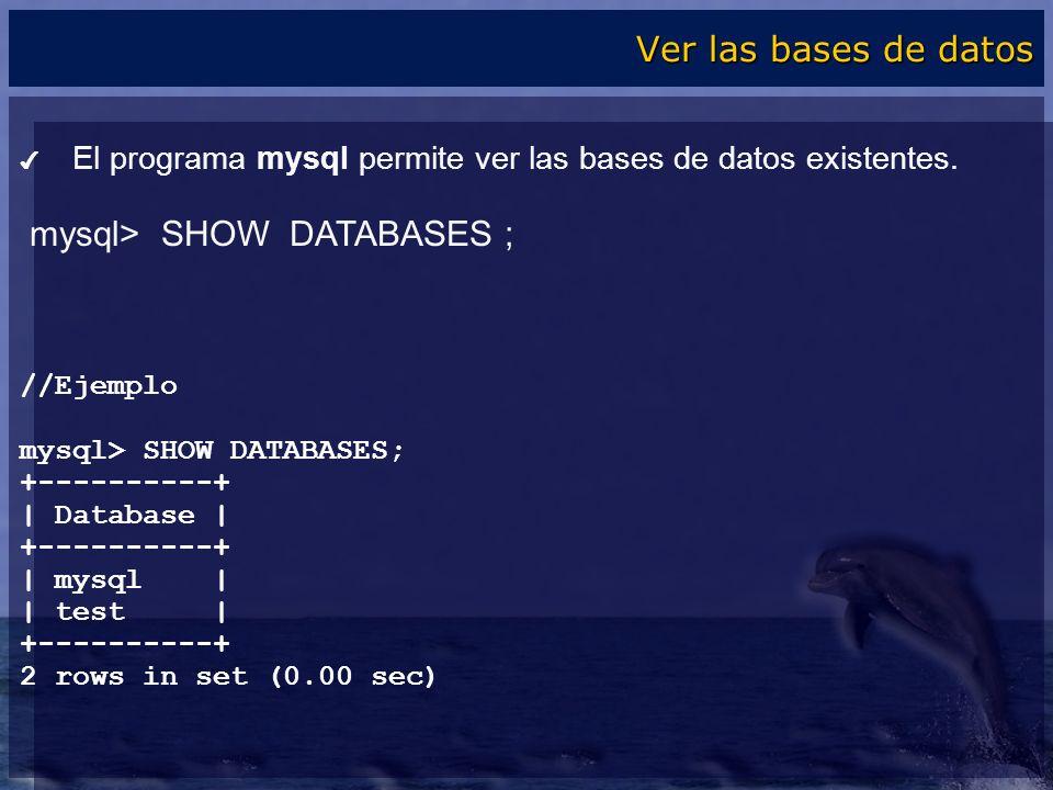 mysql> SHOW DATABASES ;