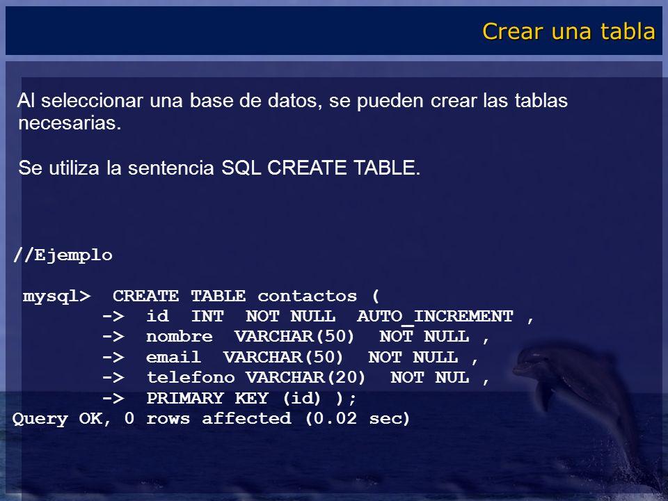 Crear una tabla Al seleccionar una base de datos, se pueden crear las tablas. necesarias. Se utiliza la sentencia SQL CREATE TABLE.