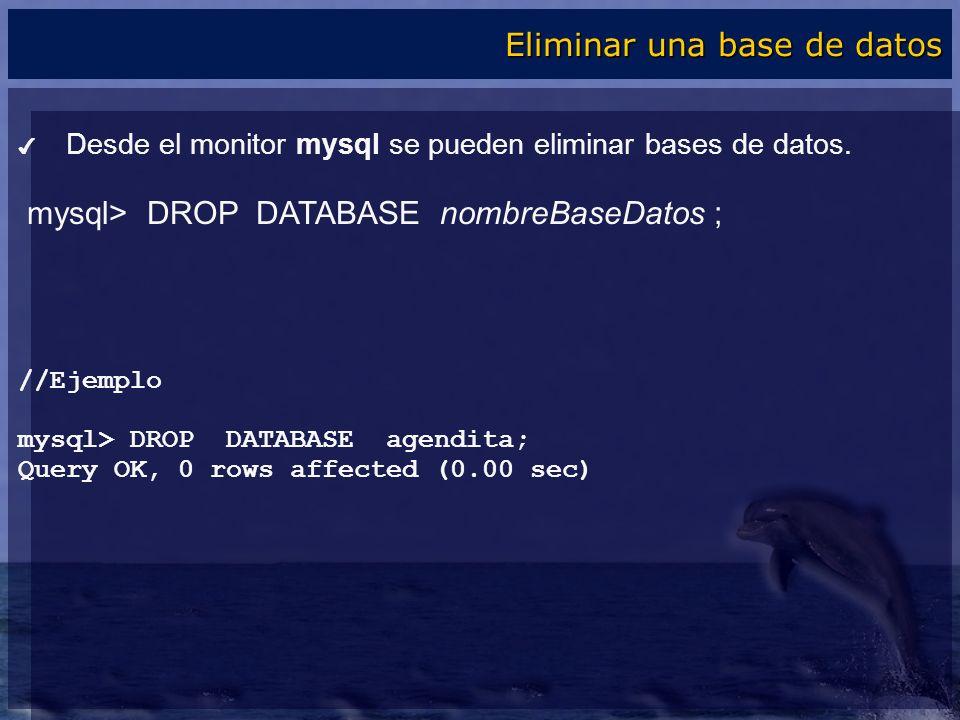 Eliminar una base de datos