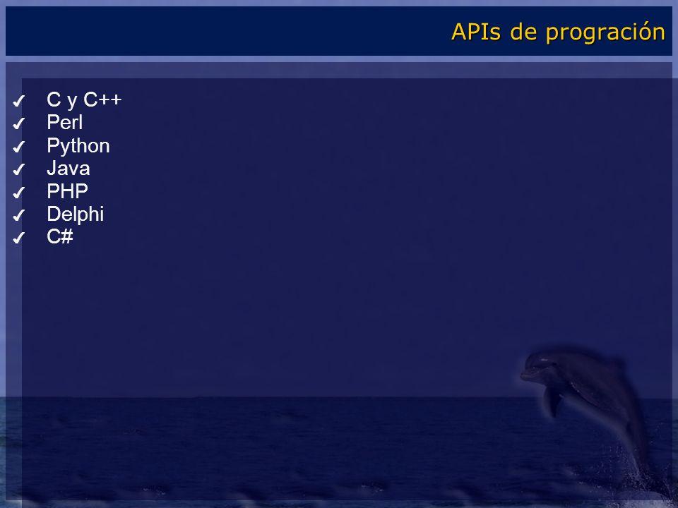 APIs de progración C y C++ Perl Python Java PHP Delphi C#