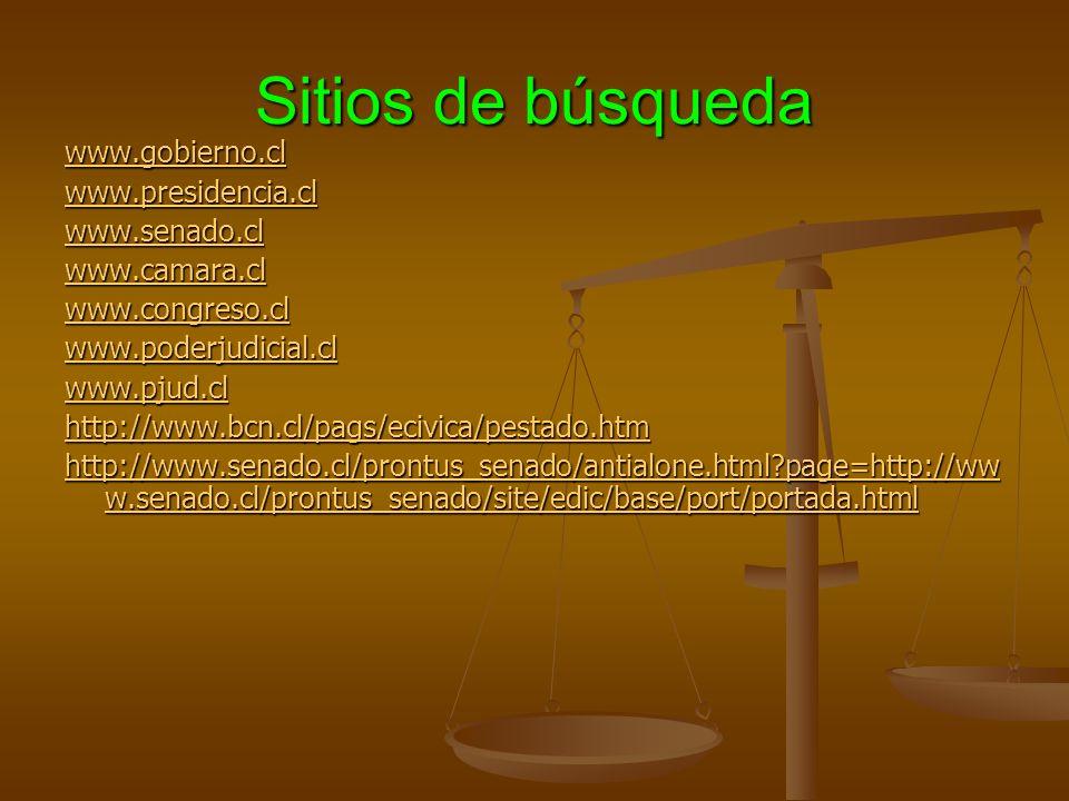 Sitios de búsqueda www.gobierno.cl www.presidencia.cl www.senado.cl