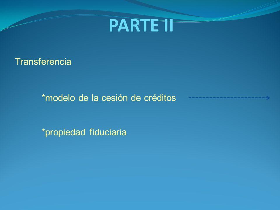 PARTE II Transferencia *modelo de la cesión de créditos