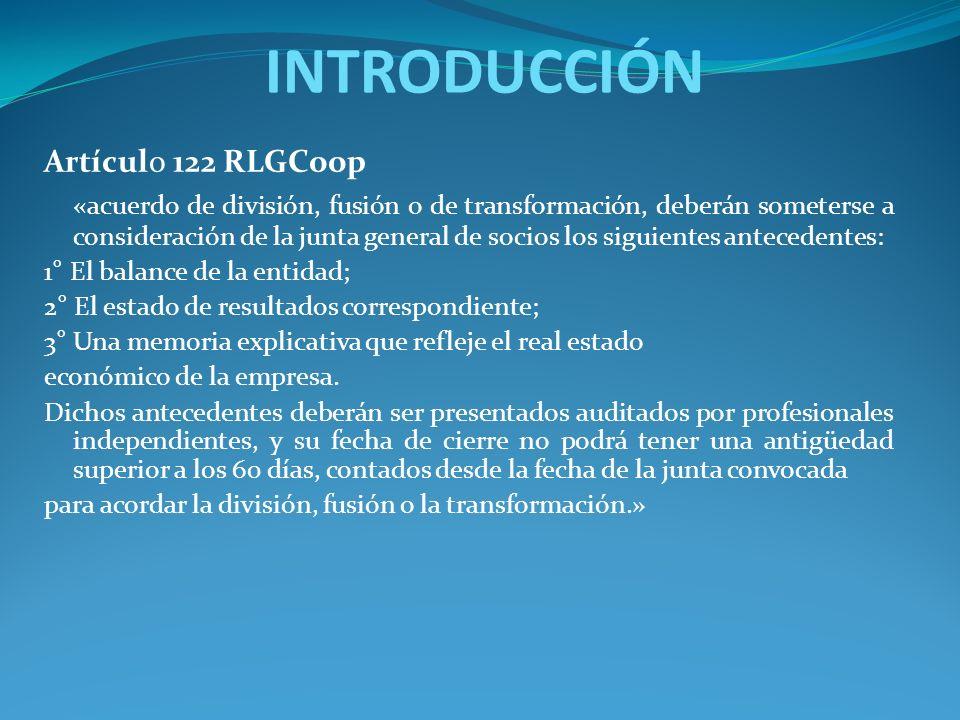 INTRODUCCIÓN Artículo 122 RLGCoop