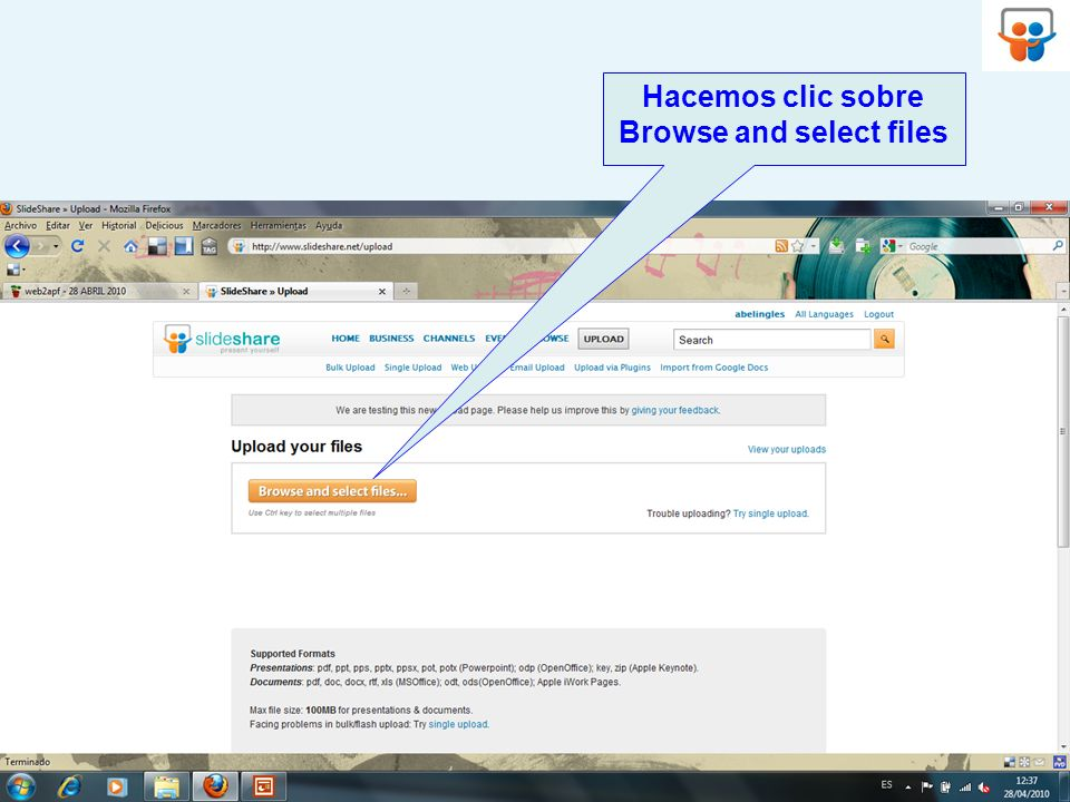 Hacemos clic sobre Browse and select files