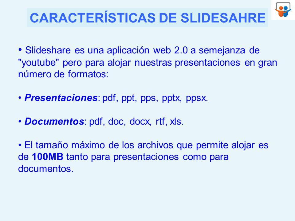 CARACTERÍSTICAS DE SLIDESAHRE