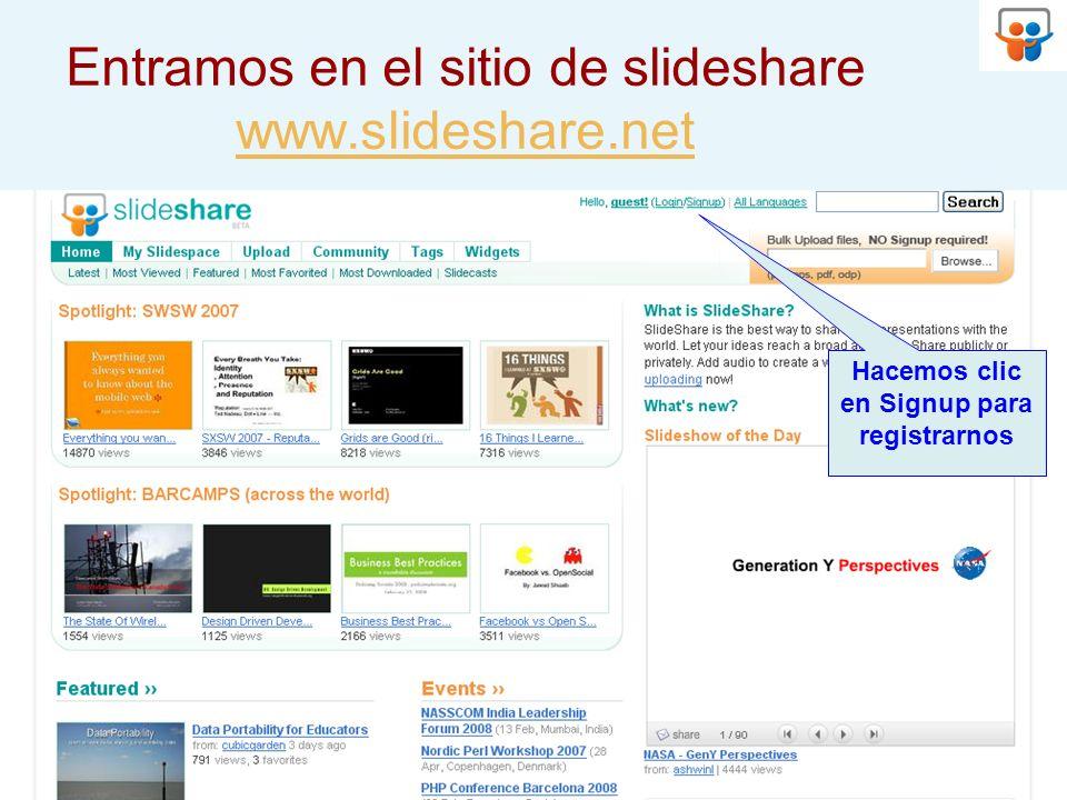 Entramos en el sitio de slideshare www.slideshare.net