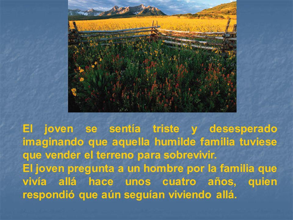 El joven se sentía triste y desesperado imaginando que aquella humilde familia tuviese que vender el terreno para sobrevivir.