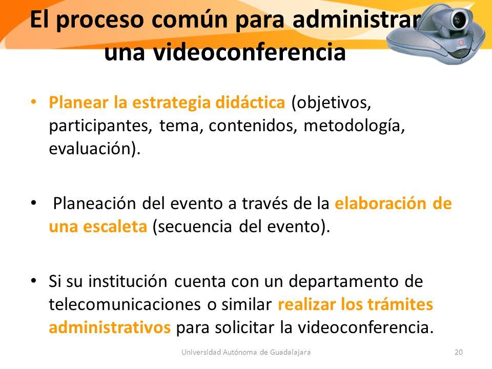 El proceso común para administrar una videoconferencia