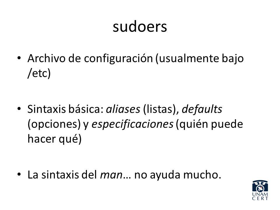 sudoers Archivo de configuración (usualmente bajo /etc)