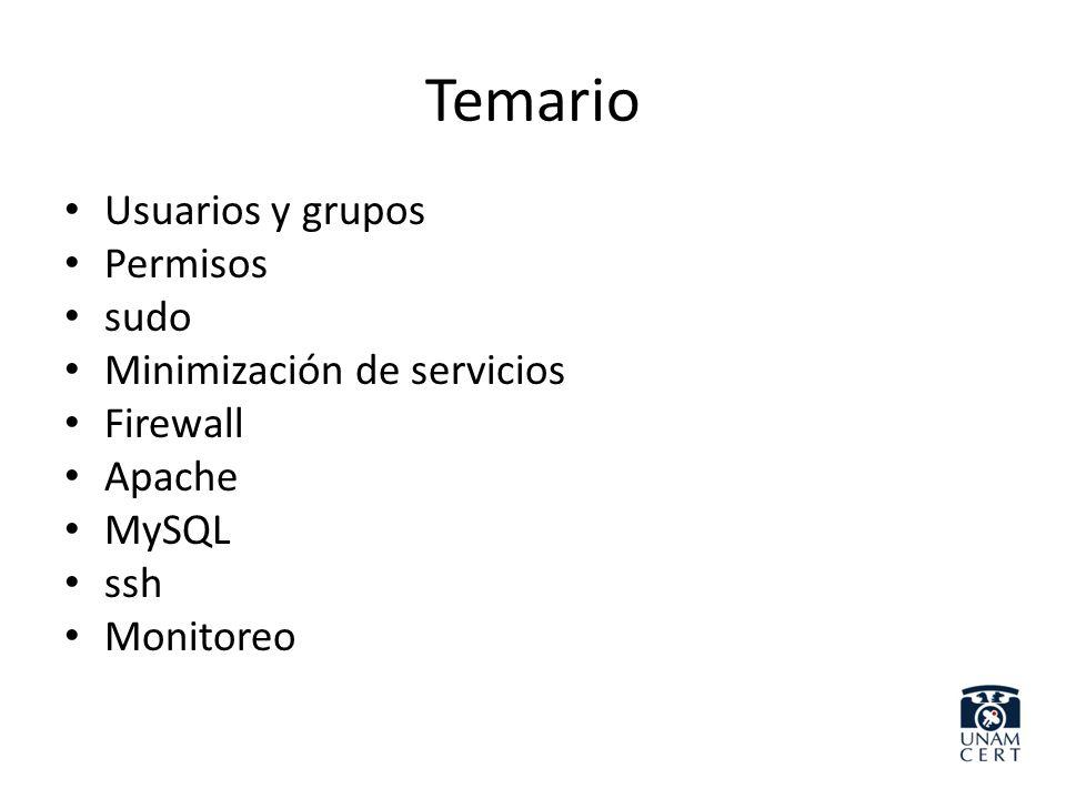 Temario Usuarios y grupos Permisos sudo Minimización de servicios