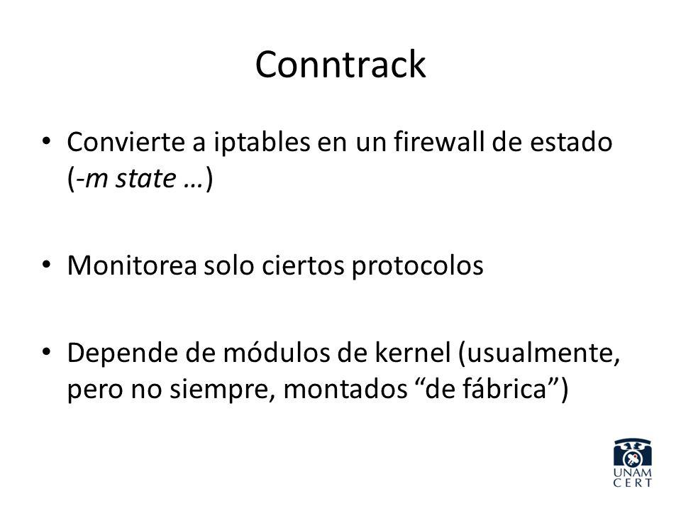 Conntrack Convierte a iptables en un firewall de estado (-m state …)