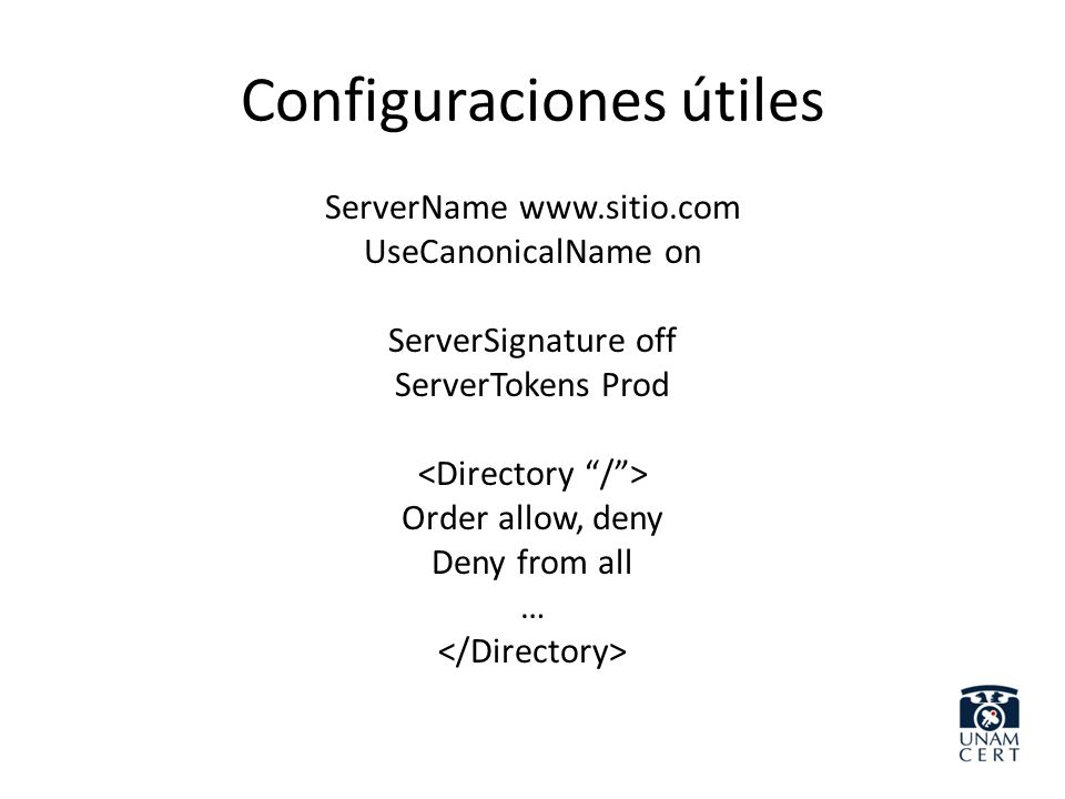 Configuraciones útiles