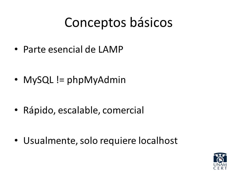 Conceptos básicos Parte esencial de LAMP MySQL != phpMyAdmin