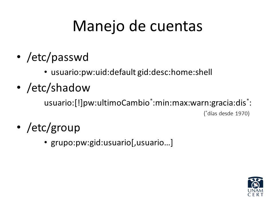 Manejo de cuentas /etc/passwd /etc/shadow /etc/group