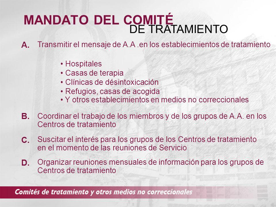 MANDATO DEL COMITÉ DE TRATAMIENTO A. B. C. D.