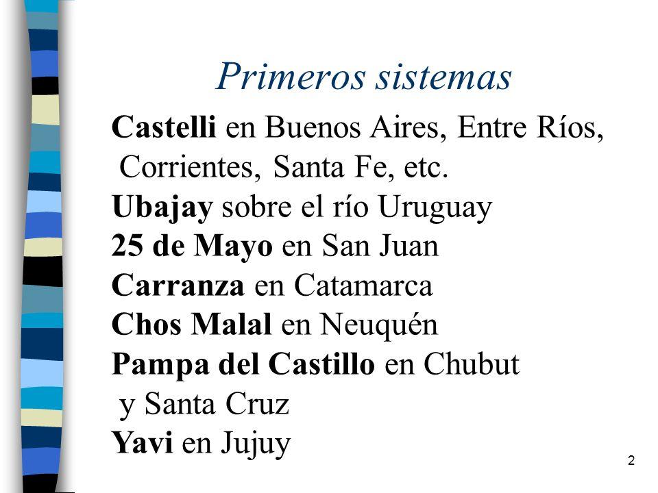 Primeros sistemas Castelli en Buenos Aires, Entre Ríos,