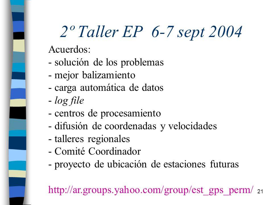 2º Taller EP 6-7 sept 2004 Acuerdos: solución de los problemas