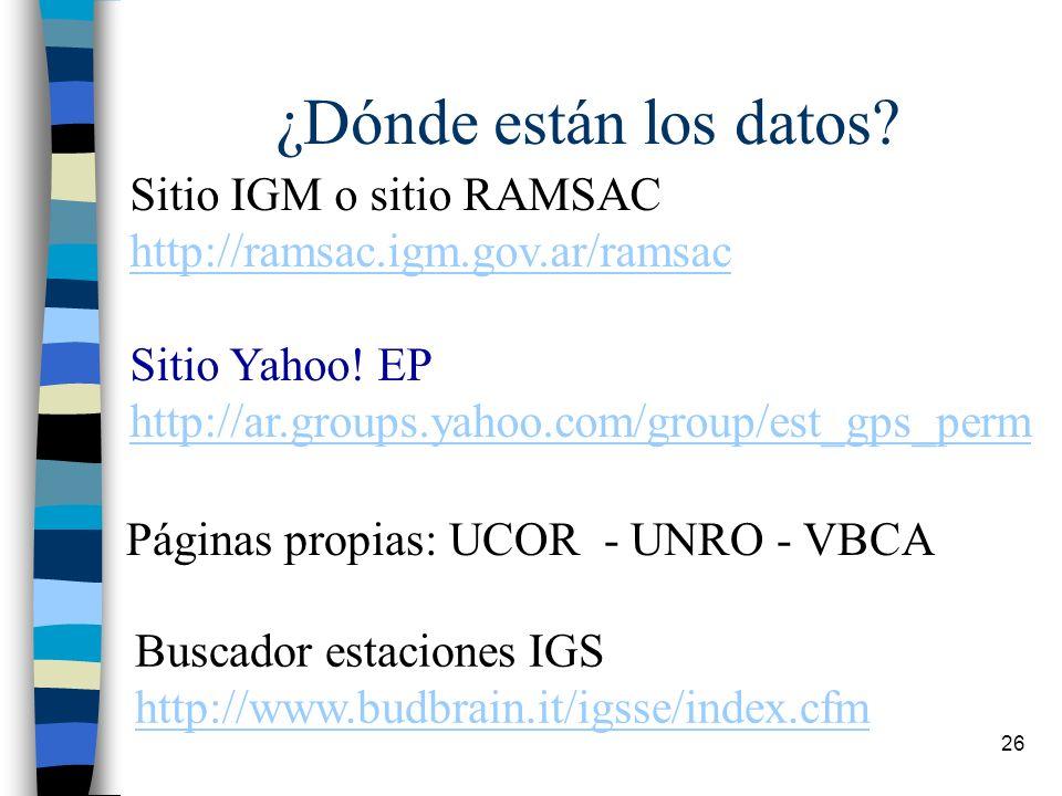 ¿Dónde están los datos Sitio IGM o sitio RAMSAC