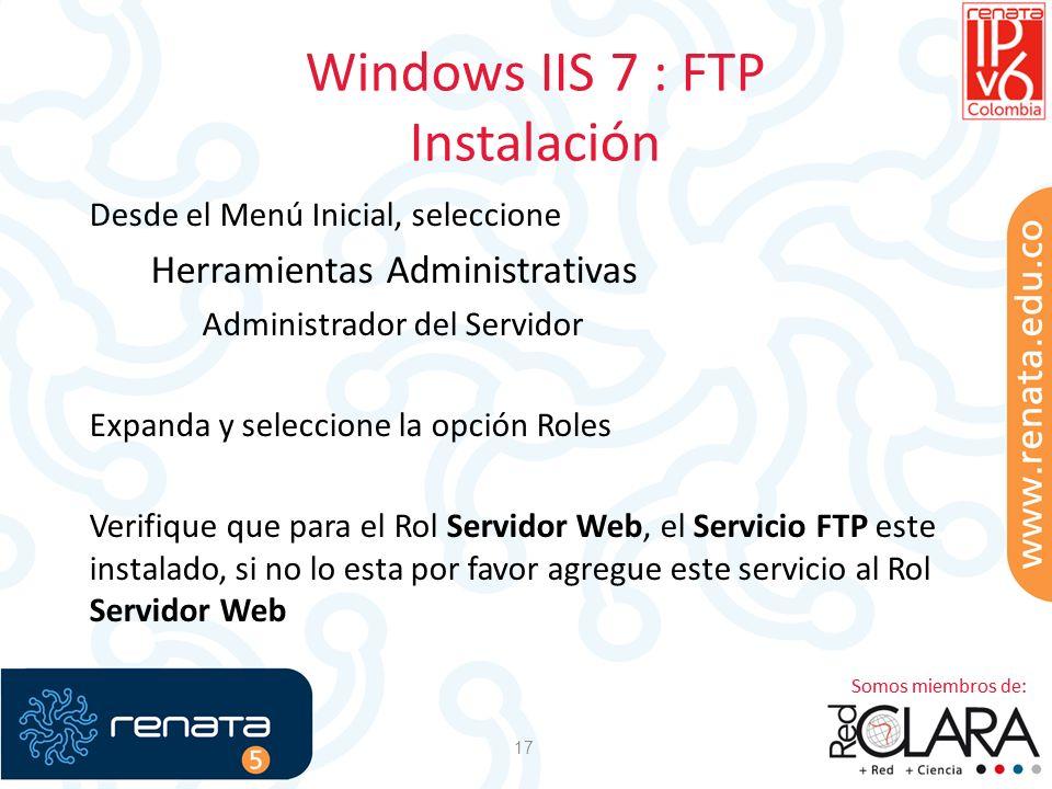 Windows IIS 7 : FTP Instalación