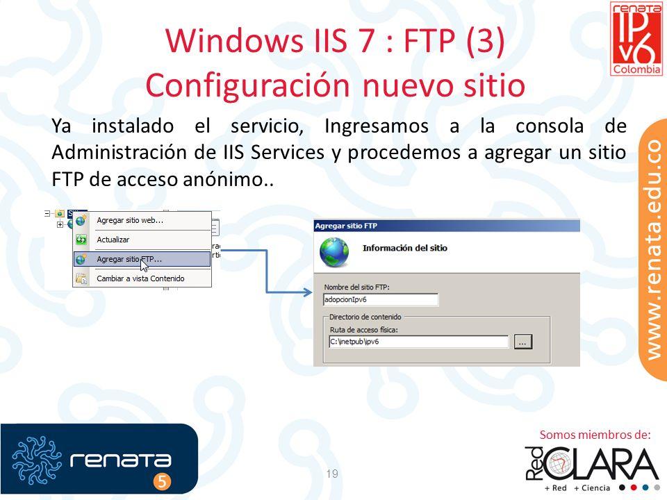 Windows IIS 7 : FTP (3) Configuración nuevo sitio