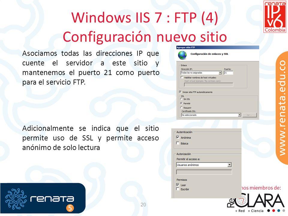 Windows IIS 7 : FTP (4) Configuración nuevo sitio