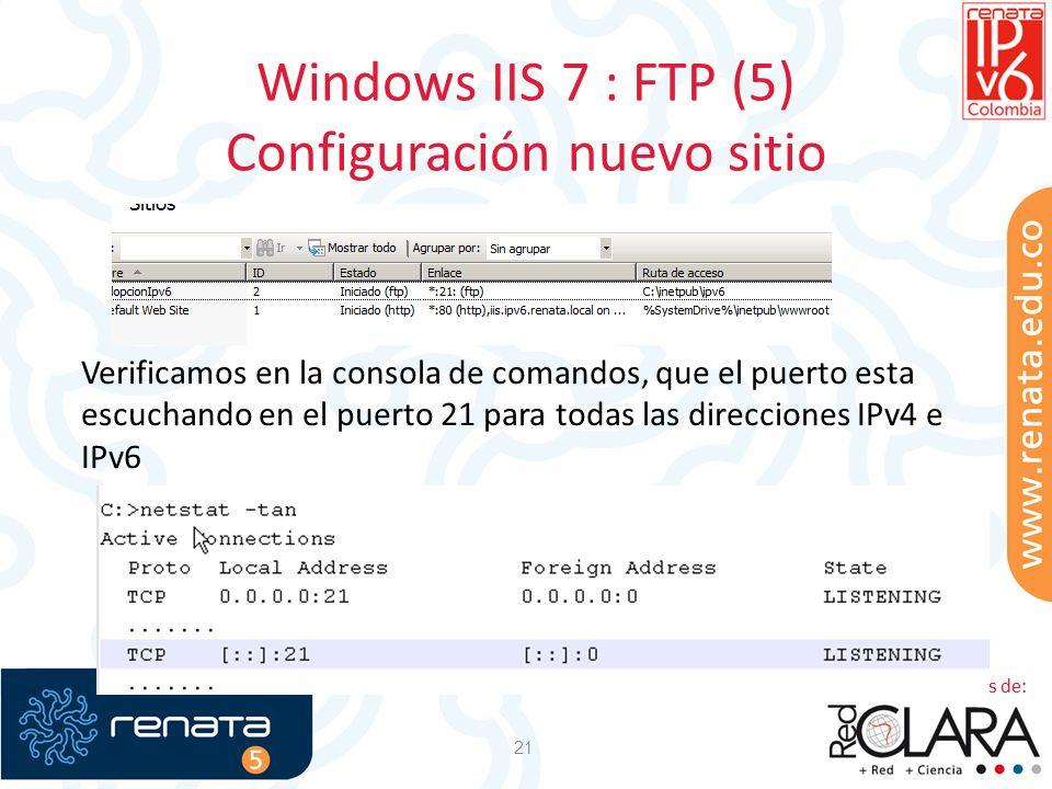 Windows IIS 7 : FTP (5) Configuración nuevo sitio