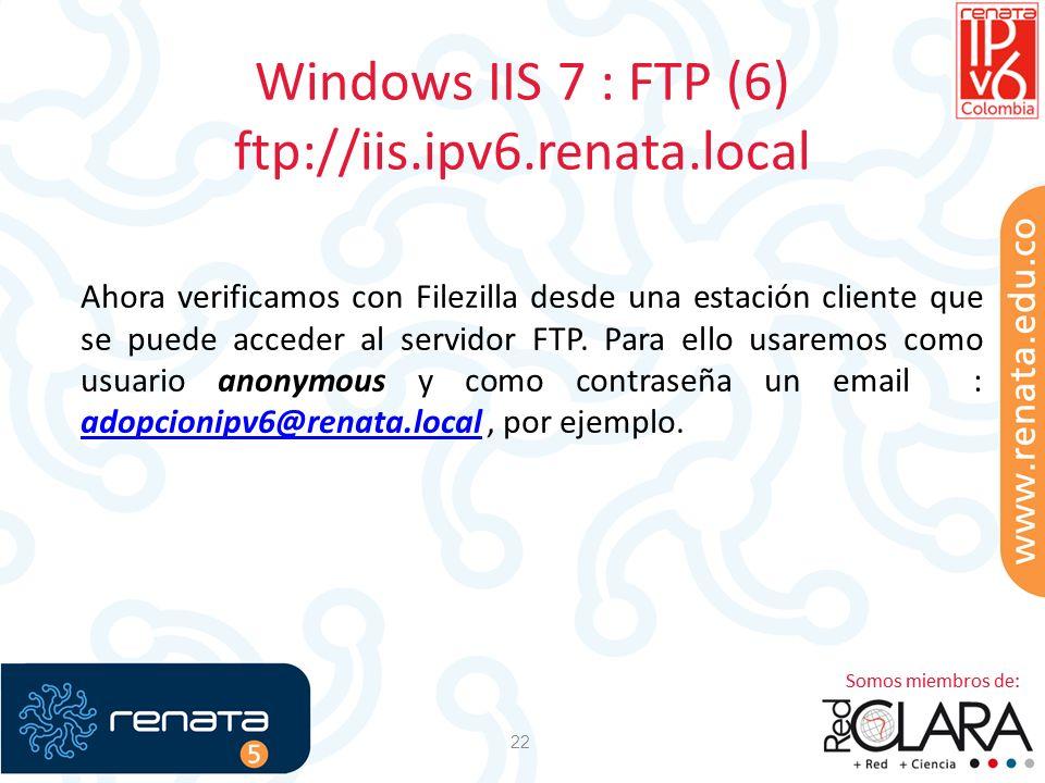 Windows IIS 7 : FTP (6) ftp://iis.ipv6.renata.local