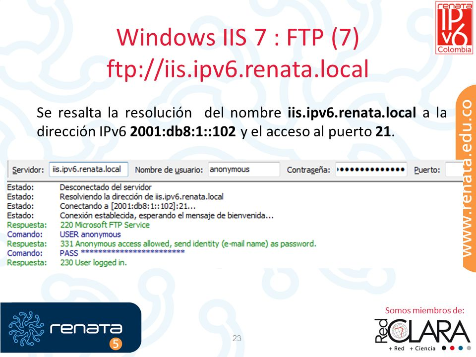 Windows IIS 7 : FTP (7) ftp://iis.ipv6.renata.local