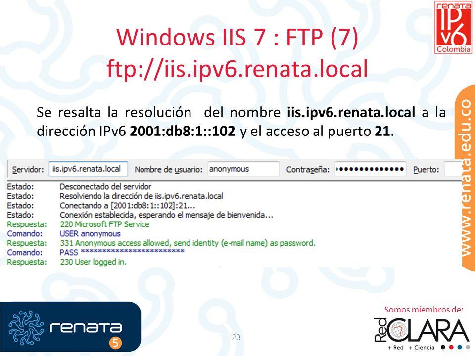 Windows IIS 7 : FTP (7) ftp://iis.ipv6.renata.local