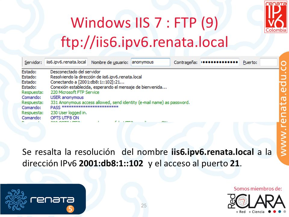 Windows IIS 7 : FTP (9) ftp://iis6.ipv6.renata.local