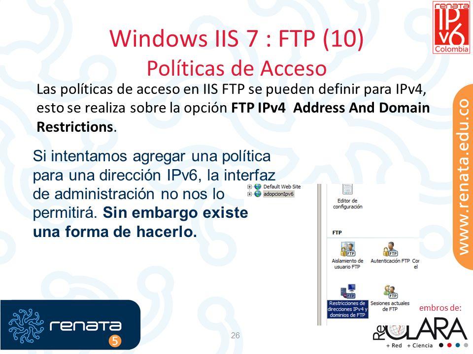 Windows IIS 7 : FTP (10) Políticas de Acceso