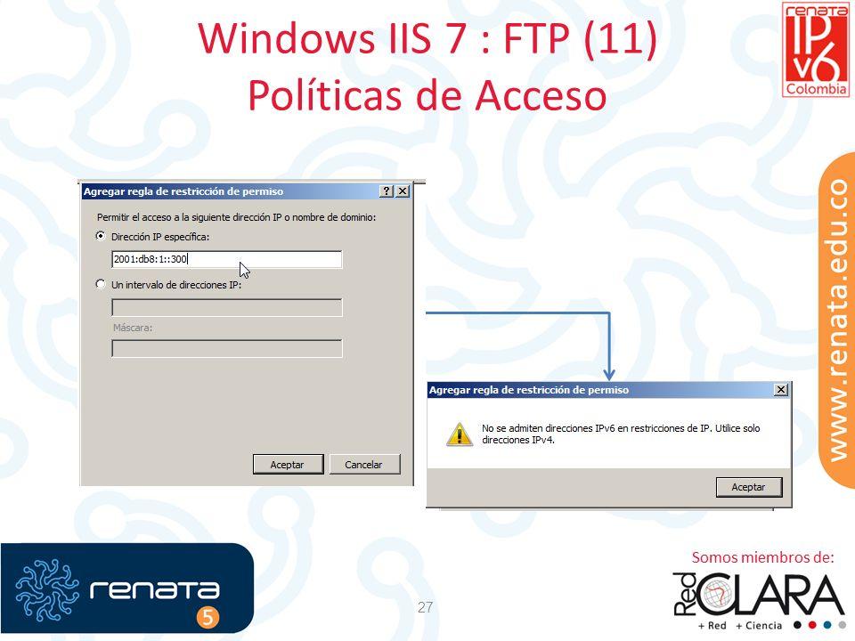 Windows IIS 7 : FTP (11) Políticas de Acceso