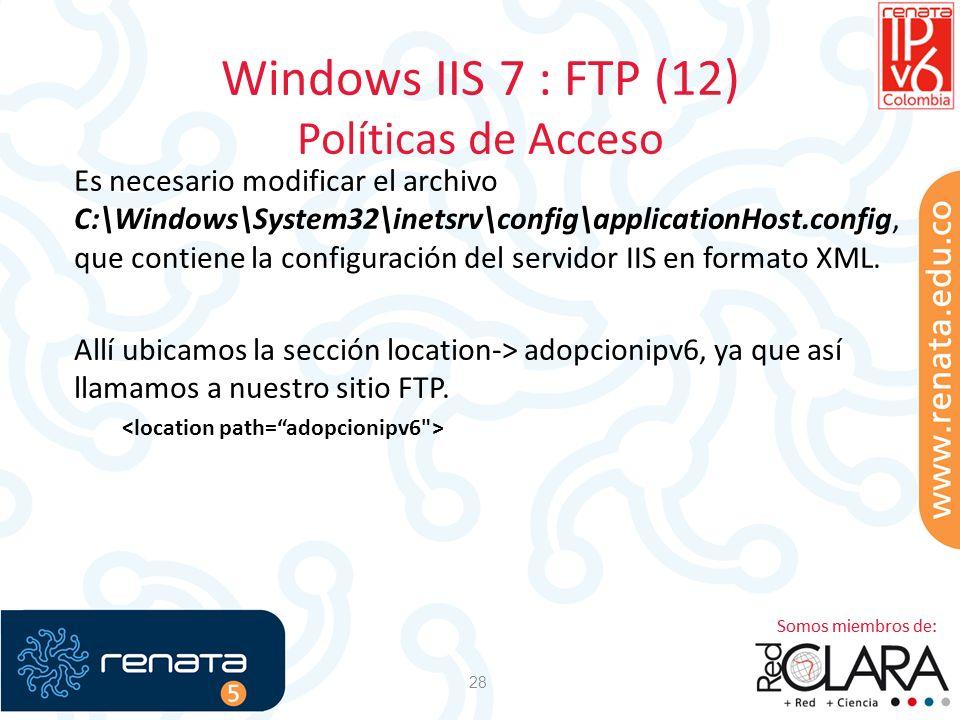 Windows IIS 7 : FTP (12) Políticas de Acceso