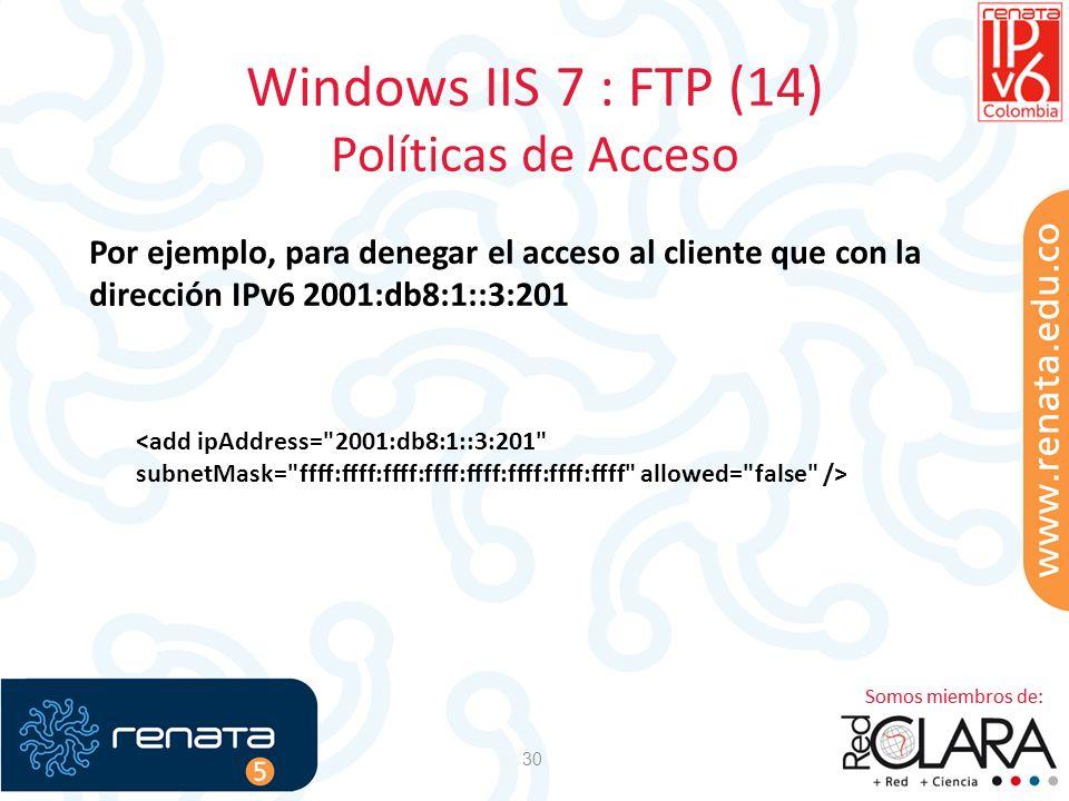 Windows IIS 7 : FTP (14) Políticas de Acceso