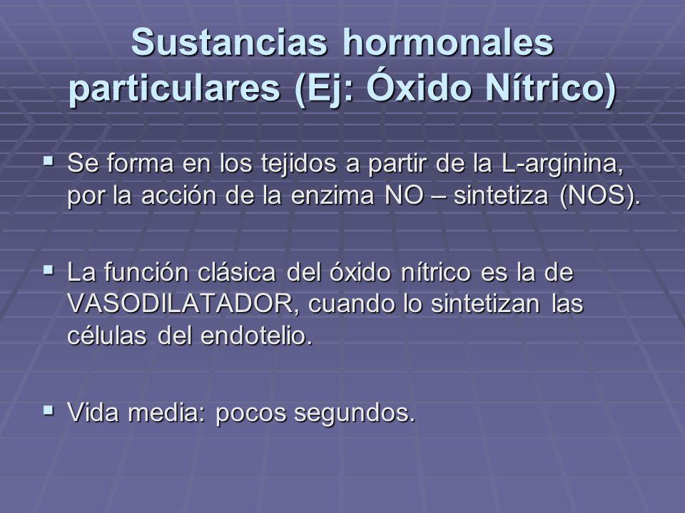 Sustancias hormonales particulares (Ej: Óxido Nítrico)