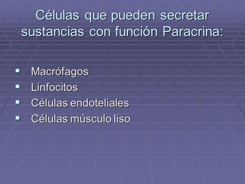 Células que pueden secretar sustancias con función Paracrina: