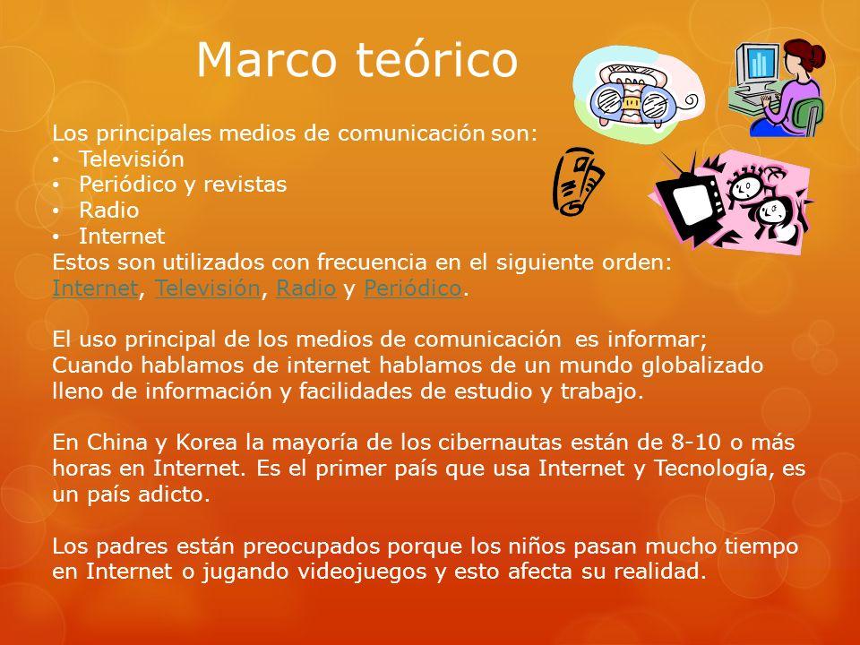 Marco teórico Los principales medios de comunicación son: Televisión