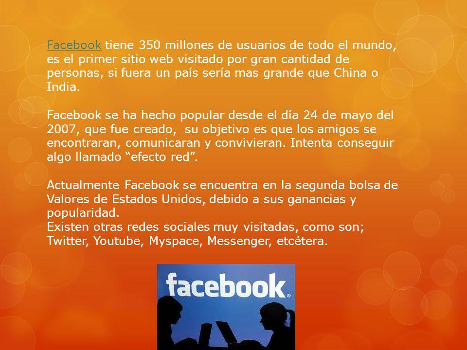 Facebook tiene 350 millones de usuarios de todo el mundo, es el primer sitio web visitado por gran cantidad de personas, si fuera un país sería mas grande que China o India.