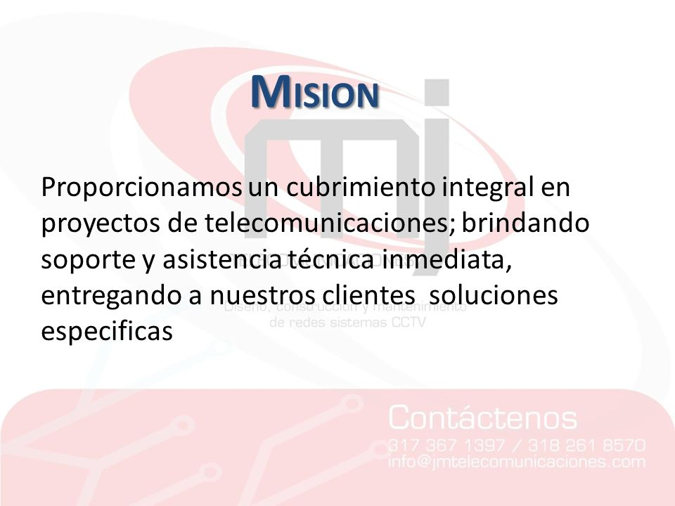 Proporcionamos un cubrimiento integral en proyectos de telecomunicaciones; brindando soporte y asistencia técnica inmediata, entregando a nuestros clientes soluciones especificas