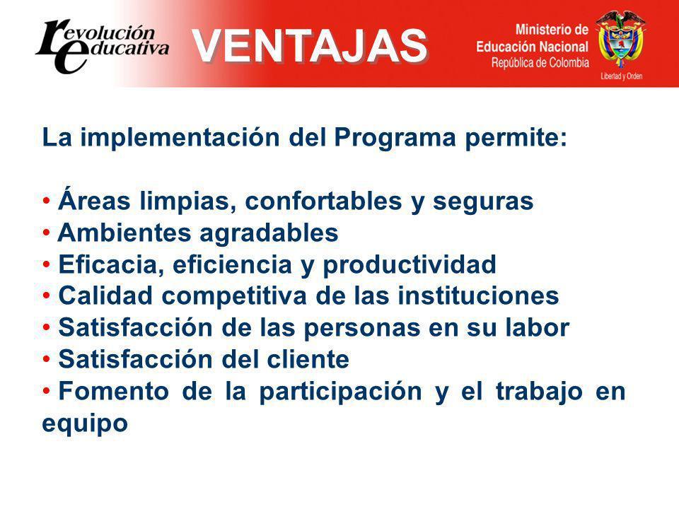 VENTAJAS La implementación del Programa permite: