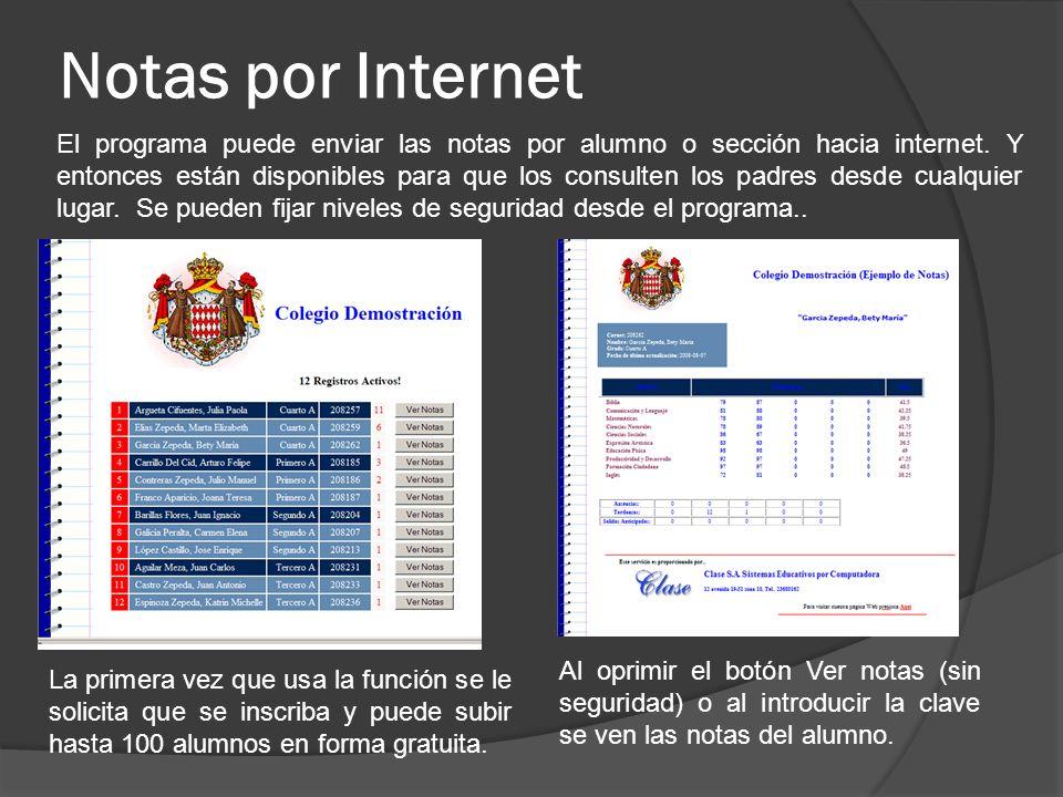 Notas por Internet