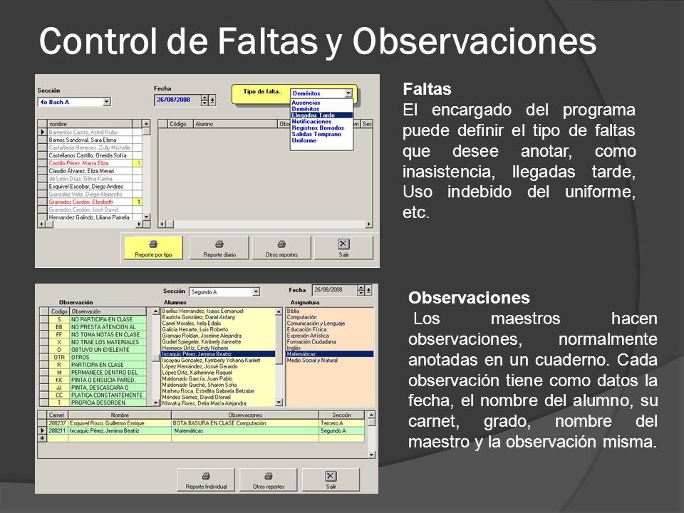 Control de Faltas y Observaciones