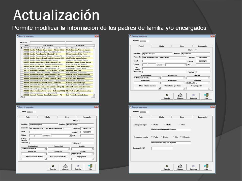 Actualización Permite modificar la información de los padres de familia y/o encargados