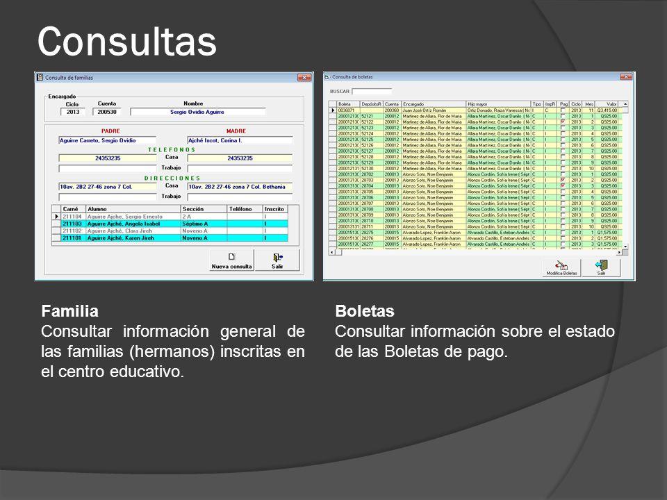 Consultas Familia. Consultar información general de las familias (hermanos) inscritas en el centro educativo.