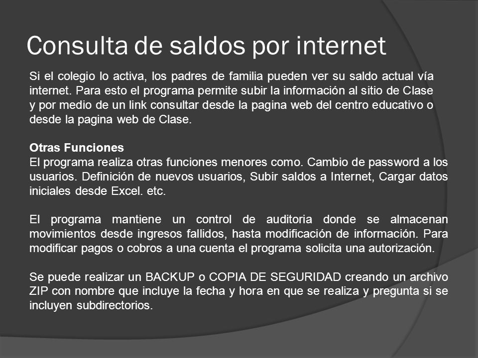 Consulta de saldos por internet