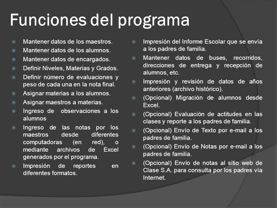 Funciones del programa