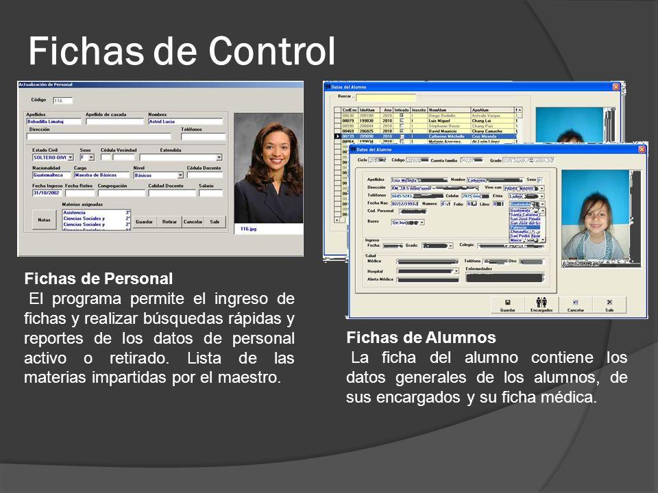 Fichas de Control Fichas de Personal