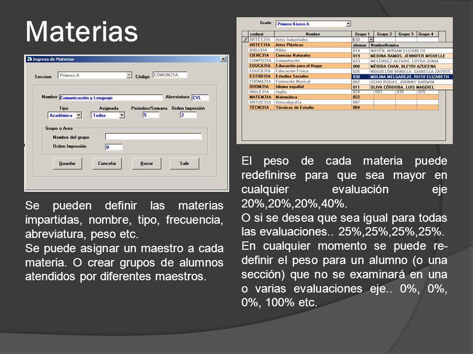 Materias El peso de cada materia puede redefinirse para que sea mayor en cualquier evaluación eje 20%,20%,20%,40%.