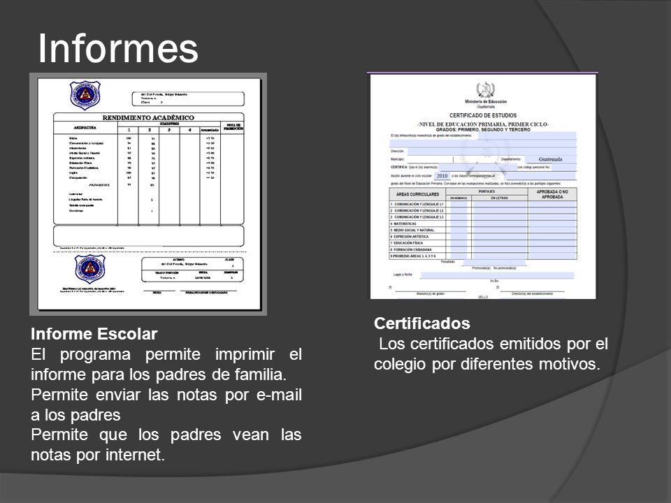 Informes Certificados Informe Escolar