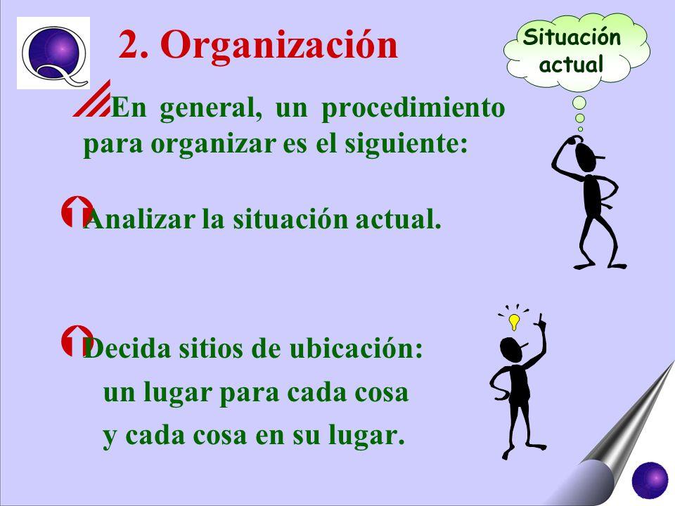 2. OrganizaciónSituación. actual. En general, un procedimiento para organizar es el siguiente: Analizar la situación actual.